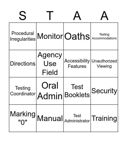 STAAR  Bingo Card