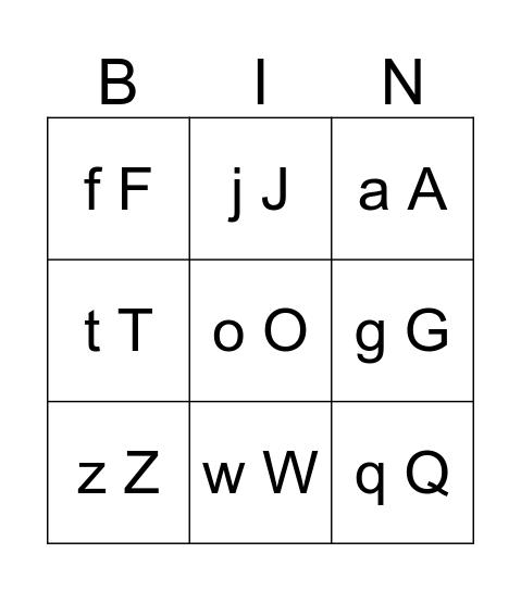 Alfabet Bingo Card