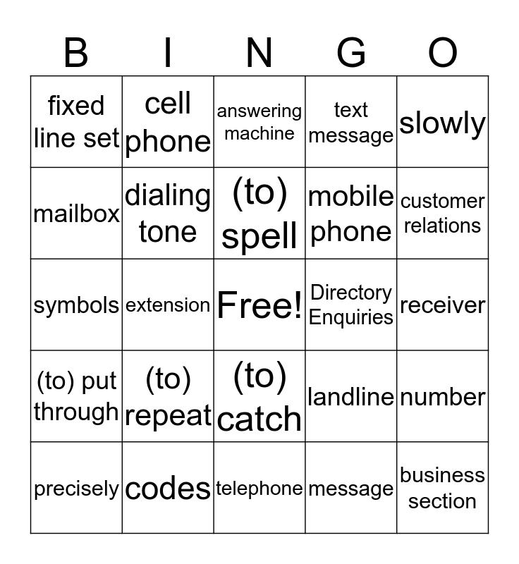 Telephoning Bingo Card