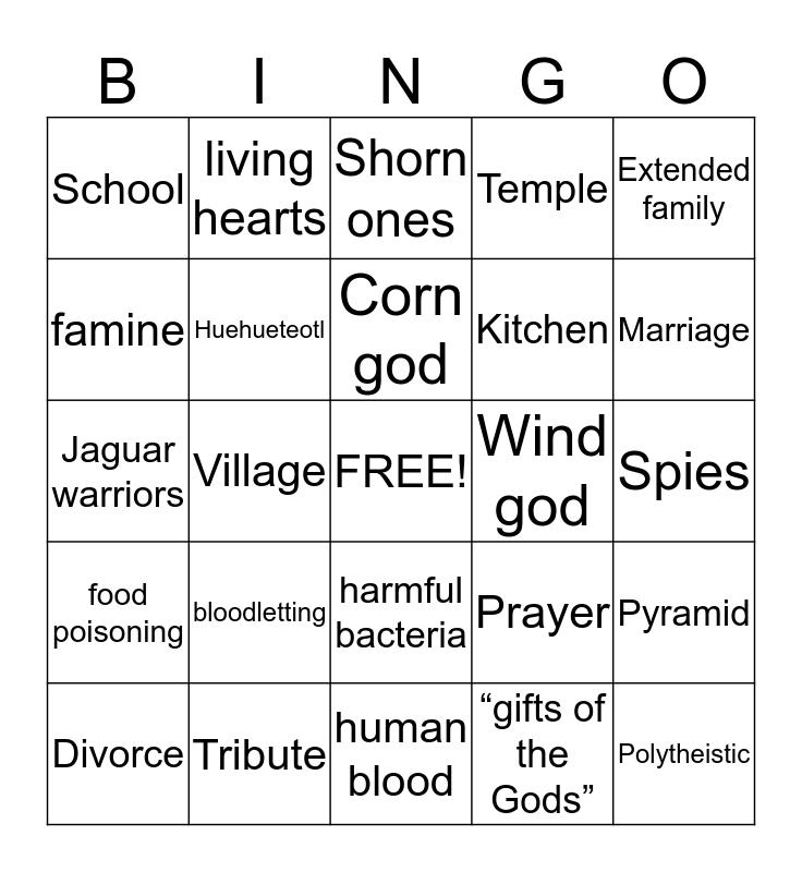Aztecs Bingo Card