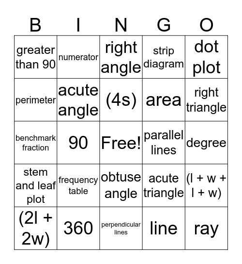 Math Vocabulary Bingo Card