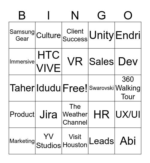 YouVisit Bingo: Round 1 Bingo Card