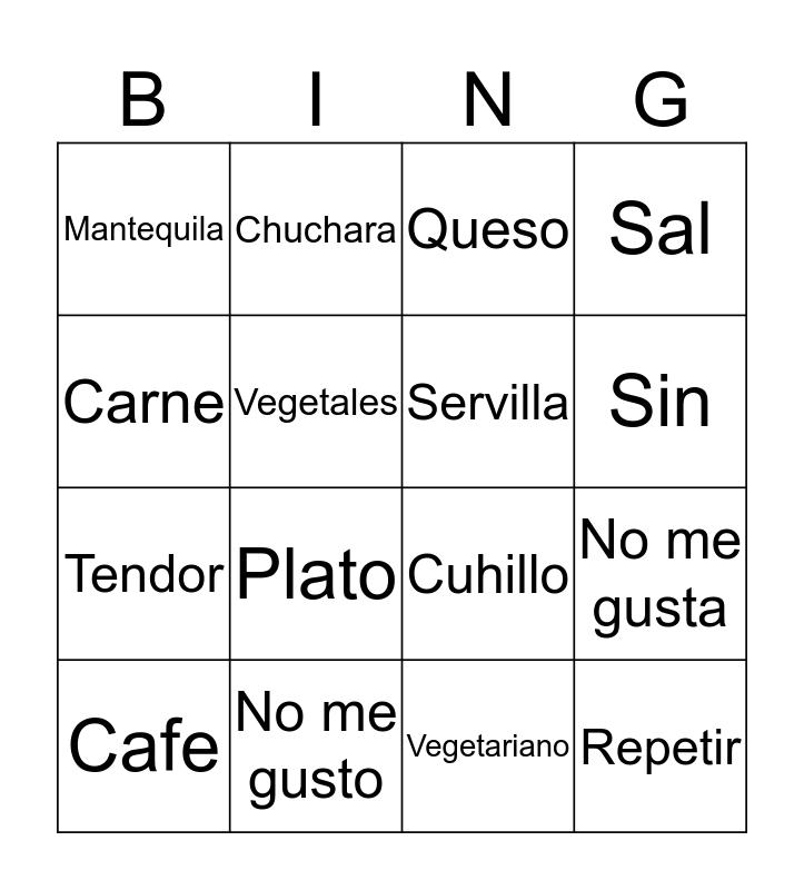 Resturant Bingo Card