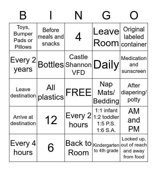 Inspection Bingo Card