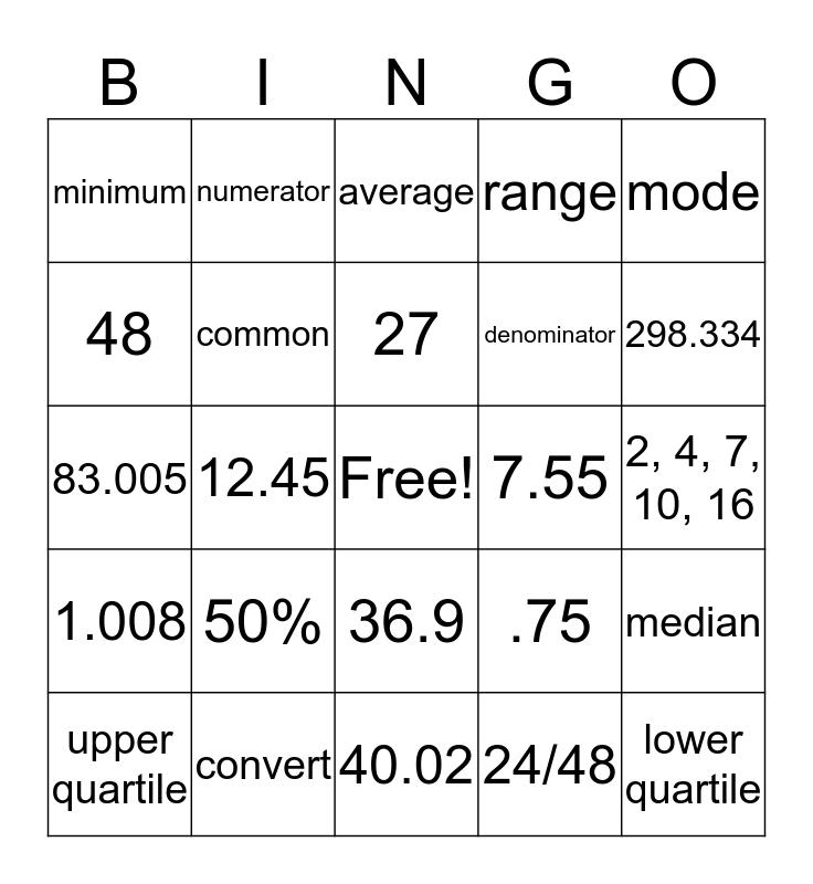 ESL Math  Bingo Card
