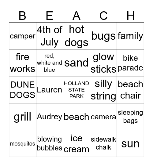 4th of July Bingo Card