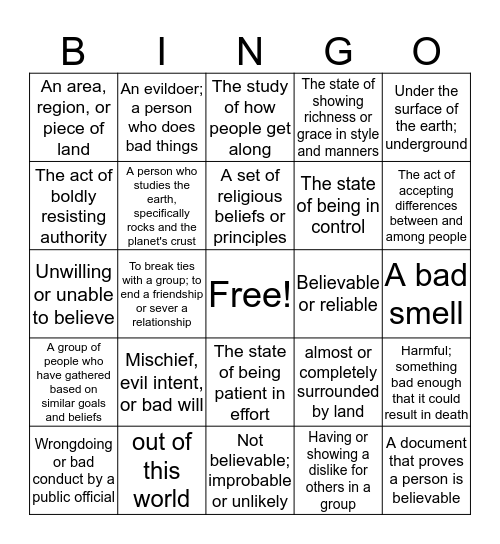 Grade 7: Enrichment Bingo  Bingo Card