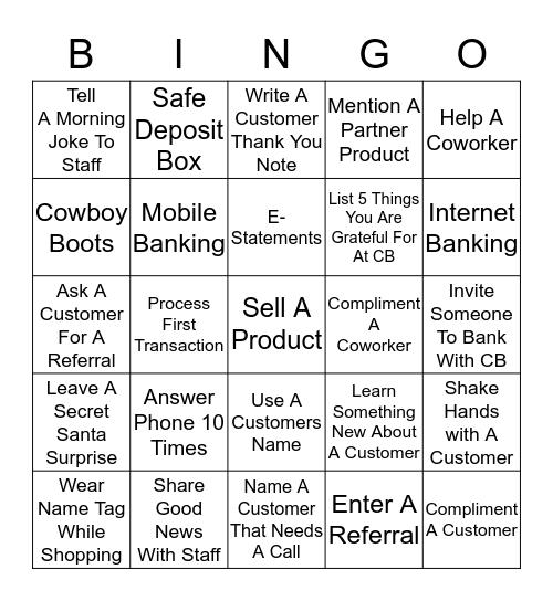 Columbia Bank Bingo Card
