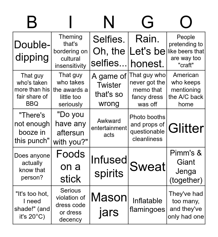 Hire Space's Summer Party Drinking Game Bingo Card