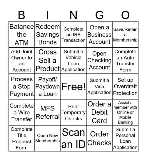 Credit Union Bingo Card
