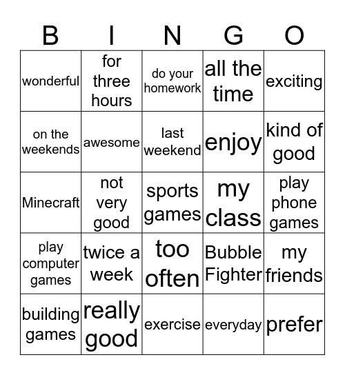 Unit 4: We Played Computer Games All Day Long Bingo Card