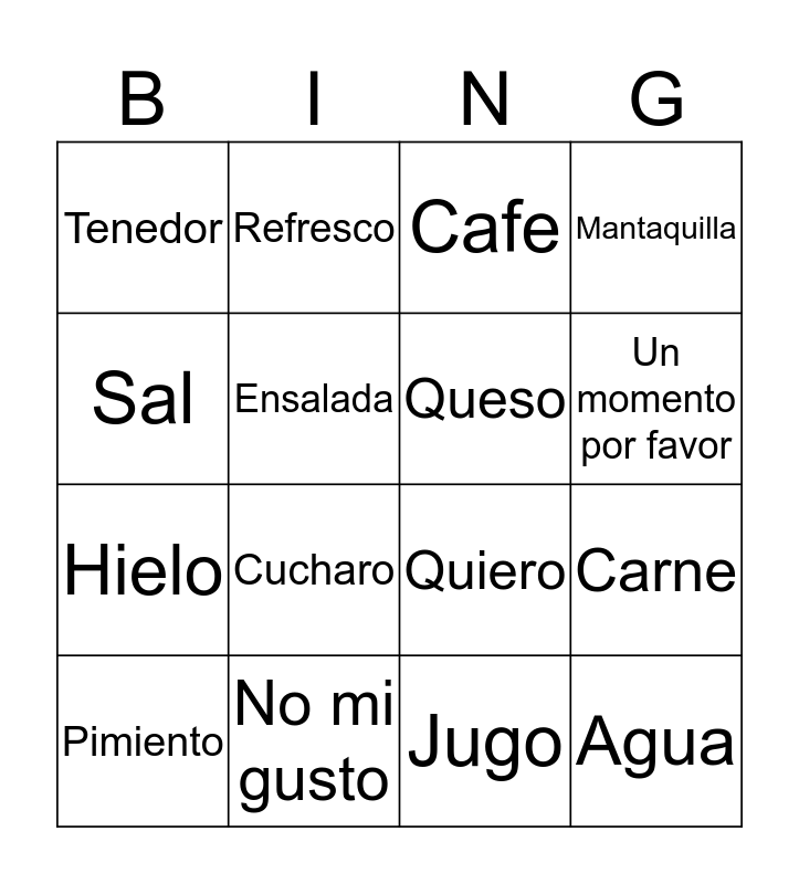 Spanish Resteraunt Phrases Bingo Card
