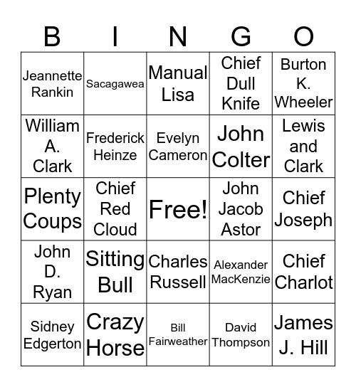 Montana Famous People Bingo Card