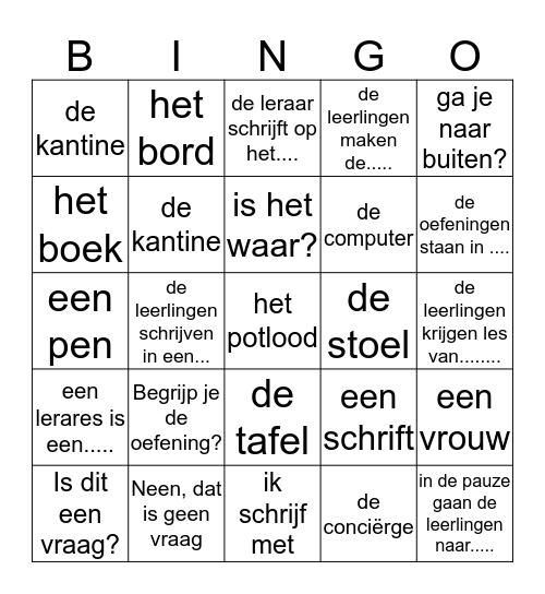 Zebra 1 Thema 1.1 Bingo Card