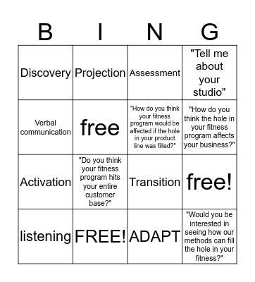 ADAPT Questioning System Bingo Card