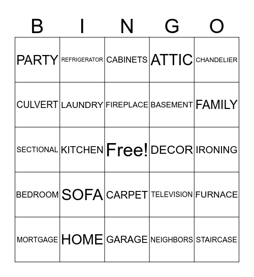 HOUSE WARMING PARTY! Bingo Card