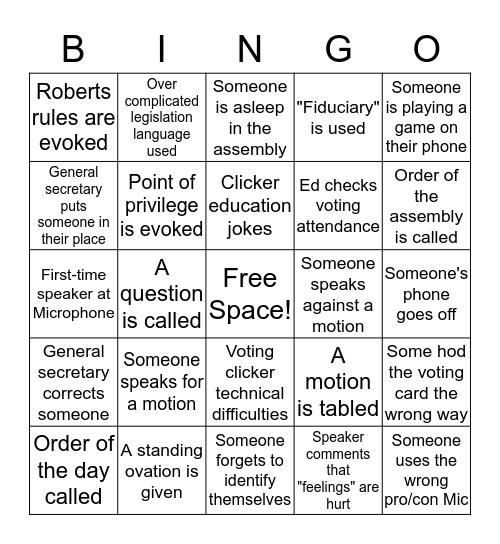 AGM Bingo 2017 Bingo Card