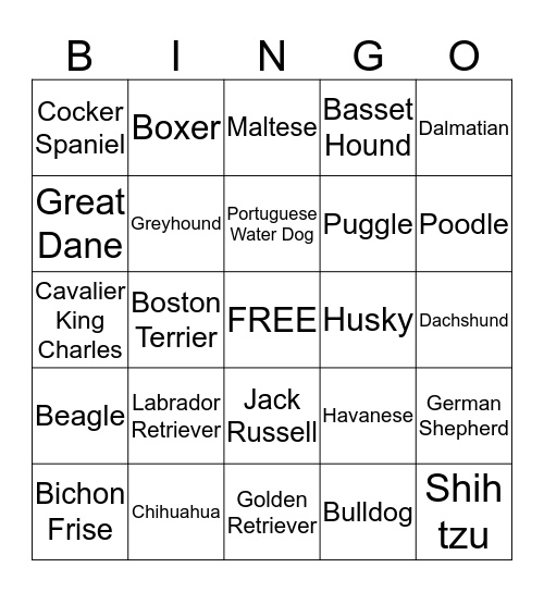 Popular Dog Breeds Bingo Card
