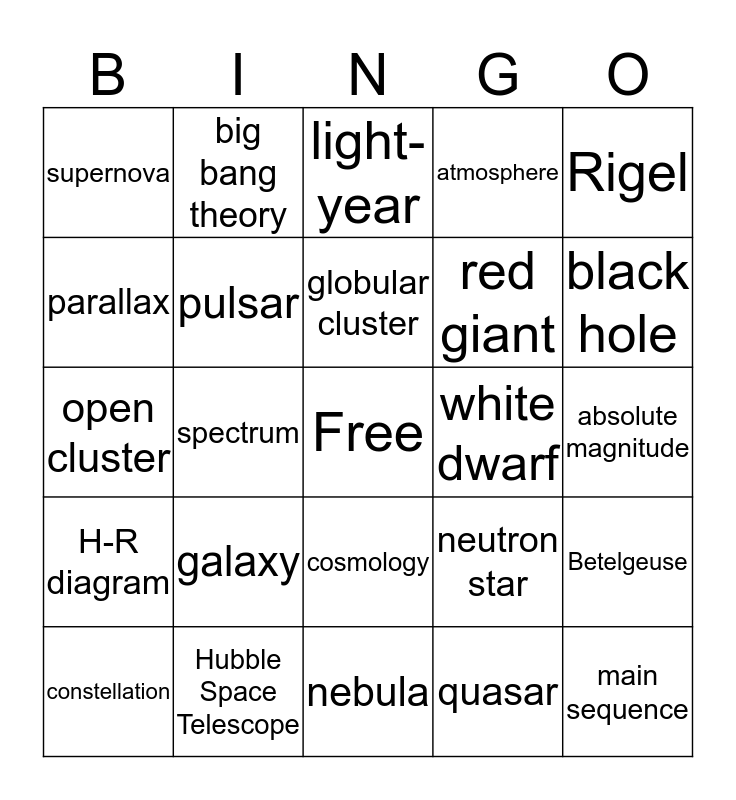 Stars and Galaxies Bingo Card