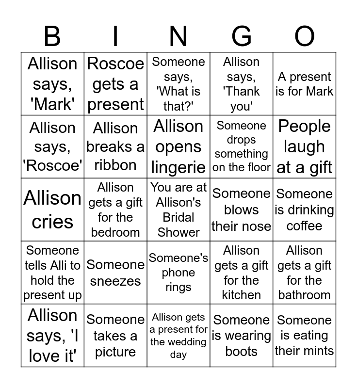Allison's Bridal Shower Bingo Card