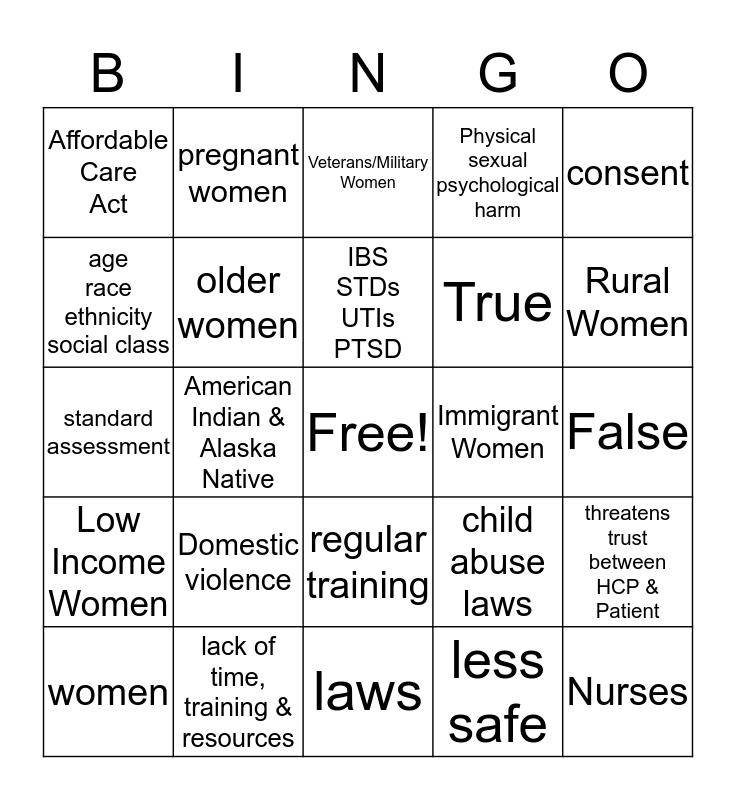 Intimate Partner Violence Bingo Card