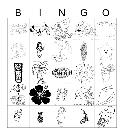 Hawaii Bingo Card