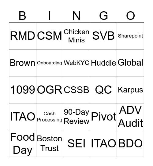 IT&C Floor BINGO Card