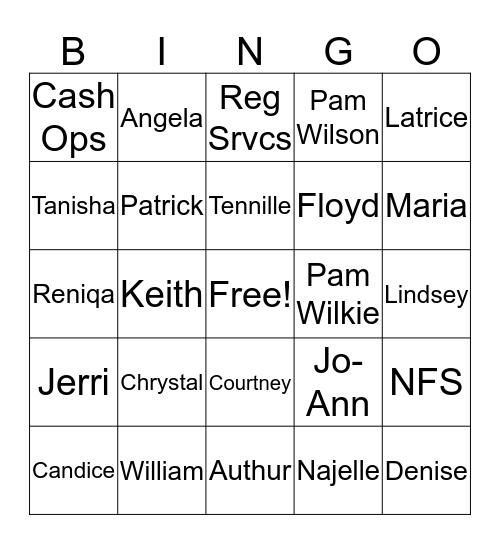 Department Bingo! Bingo Card