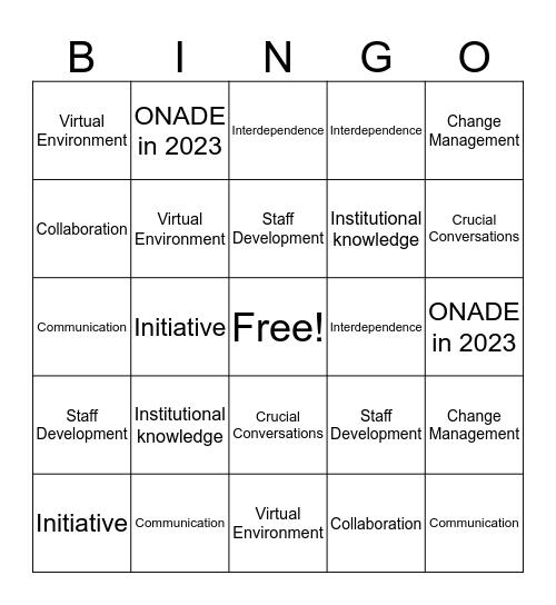 Synergy of Ideas Bingo Card