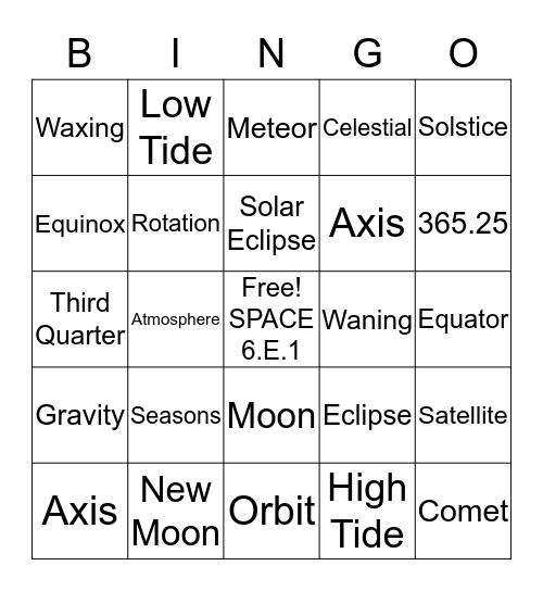 6.E.1  Review Bingo Card