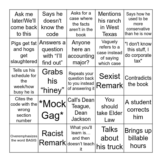 Tax Procedure Bingo Card
