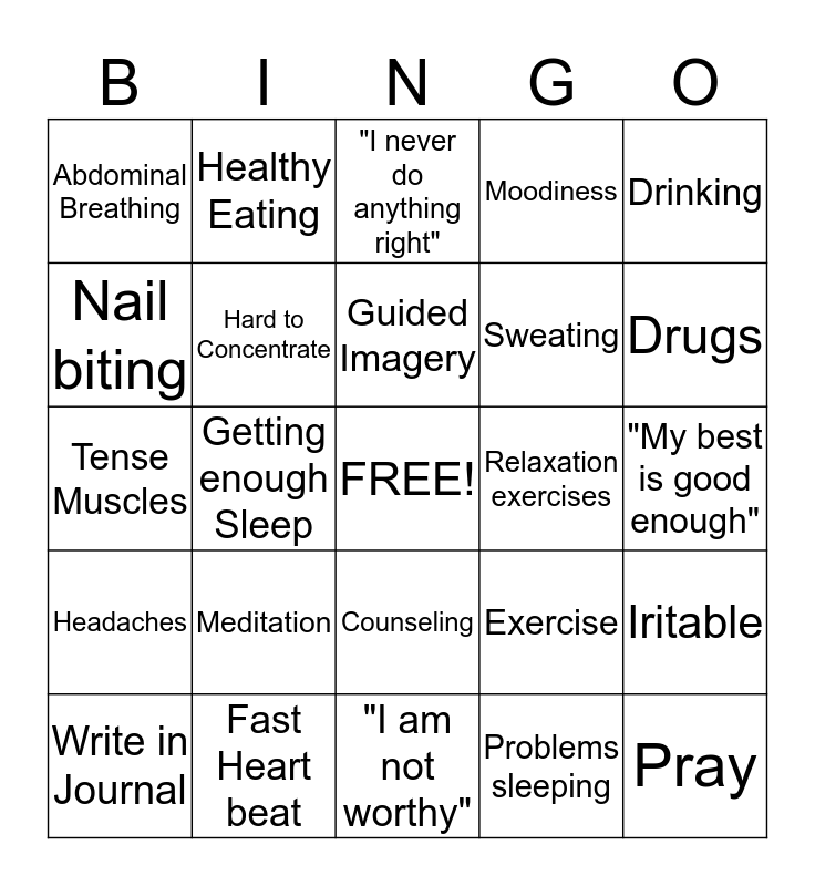 Relaxation and Stress Managment Bingo Card