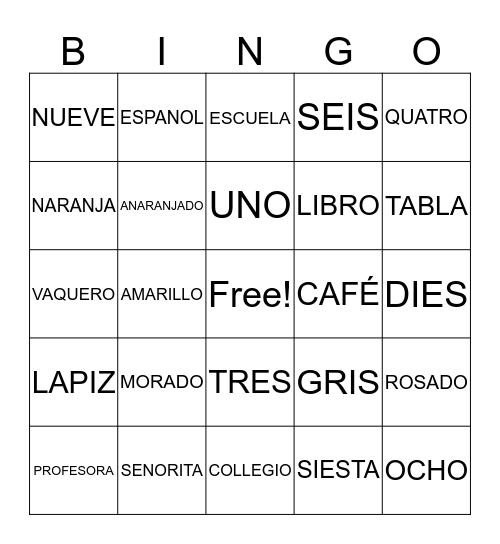 Latin America/Spanish Bingo Card