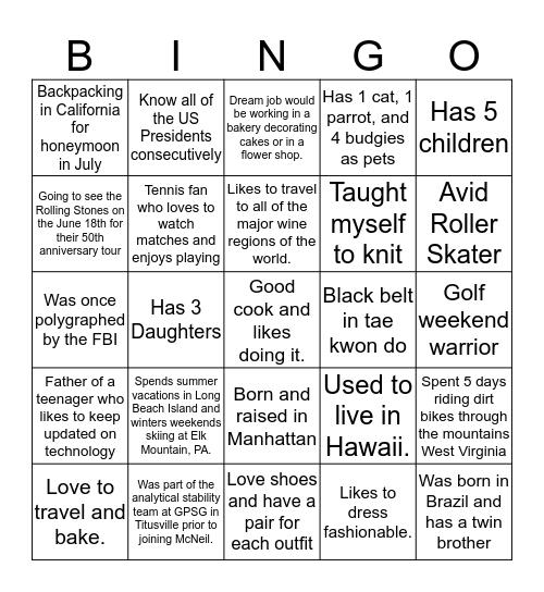 Fun Facts Bingo Card