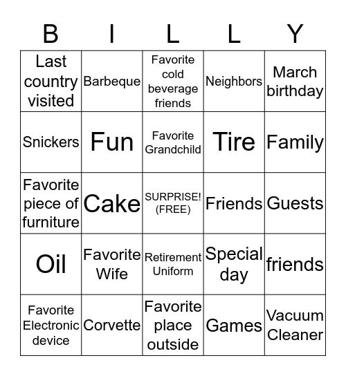 BILLY BINGO Card