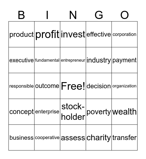 MAKING A LIVING Bingo Card