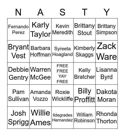 Nasty Bingo Card