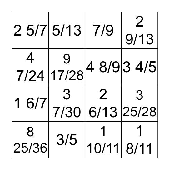 Mixed Number +/- BINGO Card