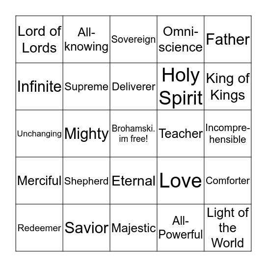 """Names for God"" Bingo Card"