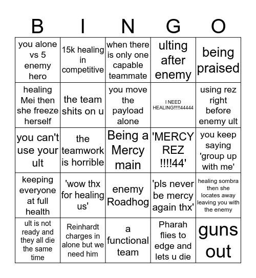 The painful life as Mercy main Bingo Card