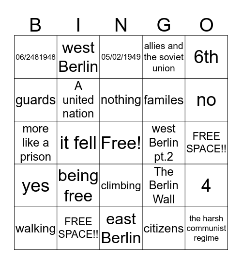 The Berlin Wall Bingo Card