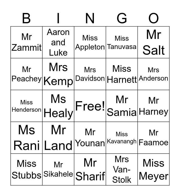 Chifley College Mount Druitt Teachers Bingo Card