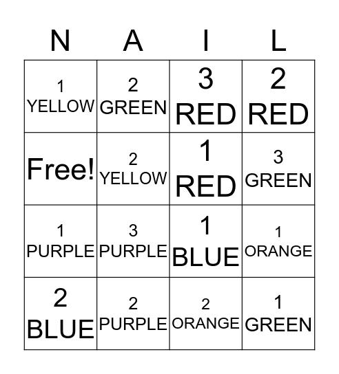 NAIL POLISH Bingo Card