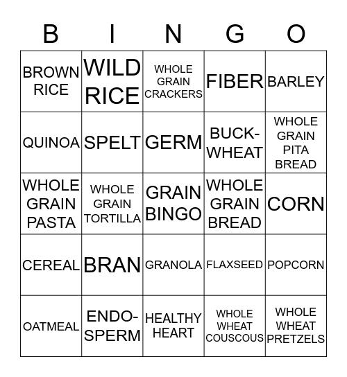 GRAIN BINGO! Bingo Card