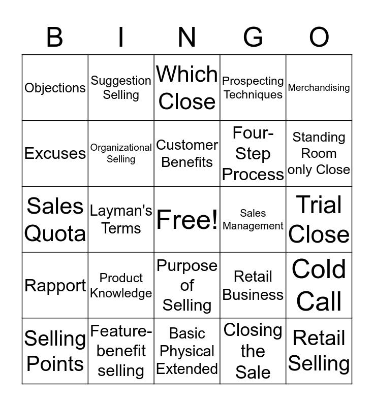 Selling Bingo Card