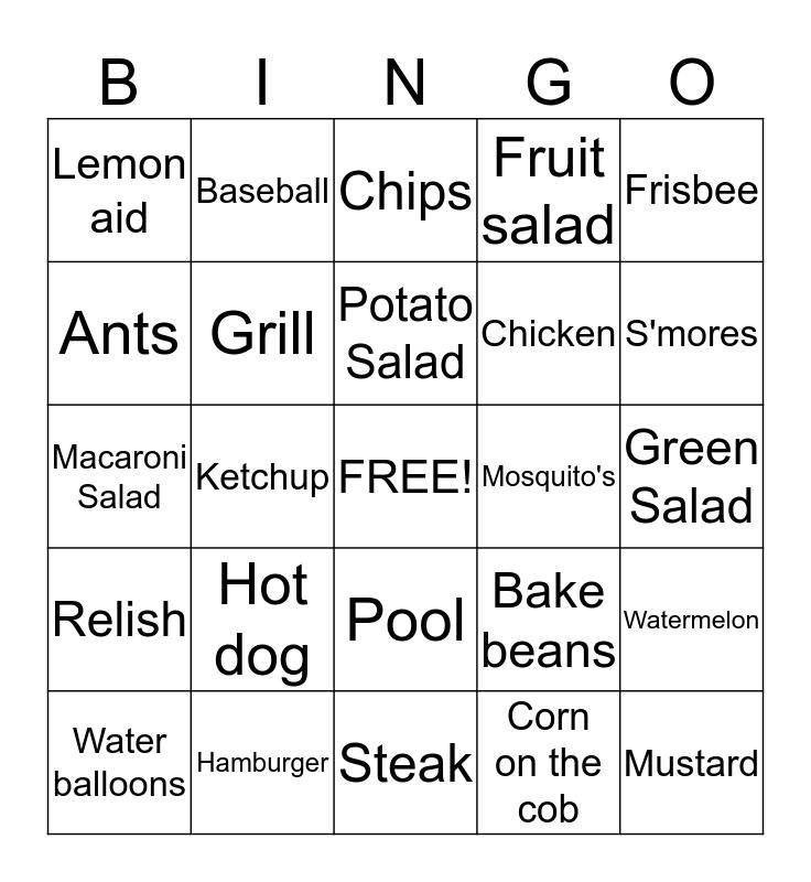 Backyard Barbecue Bingo Card