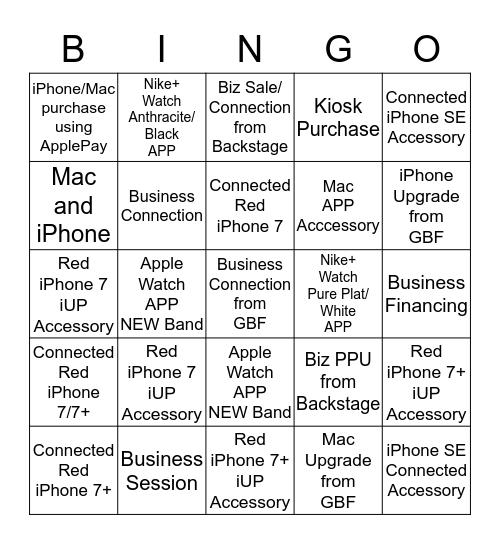 Connection Team Bingo Card