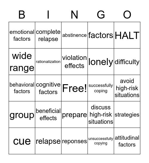 relapse factors Bingo Card