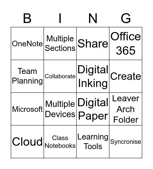 Discover OneNote in t he Classrrom Bingo Card