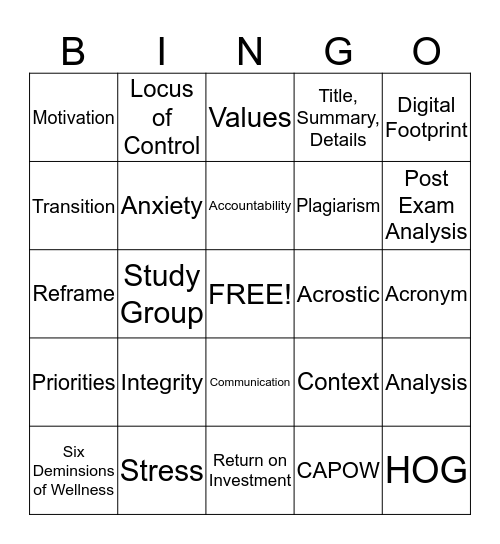 Success Strategies Bingo Card